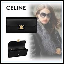 CELINE Triomphe Calfskin Blended Fabrics Home Party Ideas Long Wallets