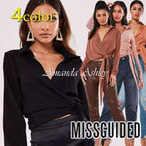 Missguided Casual Style Long Sleeves Plain Shirts & Blouses