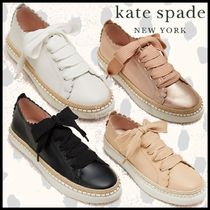 kate spade new york Rubber Sole Casual Style Plain Leather Elegant Style