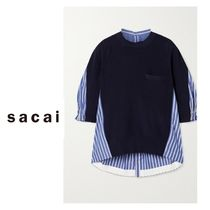 sacai Stripes Casual Style Blended Fabrics Cropped Cotton