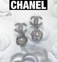 CHANEL ICON Flower Party Style Office Style Earrings