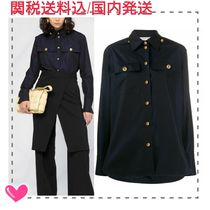 GIVENCHY Casual Style Long Sleeves Plain Cotton Long Elegant Style
