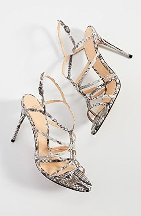 Open Toe Leather Pin Heels Python Sandals Sandal