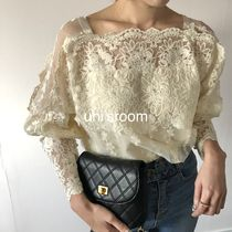 Flower Patterns Casual Style Puffed Sleeves Long Sleeves