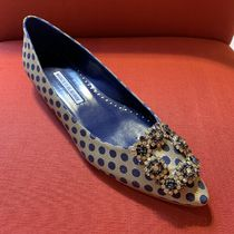 Manolo Blahnik Hangisi Dots Blended Fabrics Party Style With Jewels