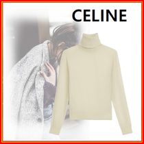 CELINE Casual Style Cashmere Long Sleeves Plain High-Neck
