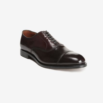 Straight Tip Street Style Plain Leather Handmade Oxfords