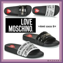 Moschino Heart Open Toe Rubber Sole Casual Style Street Style