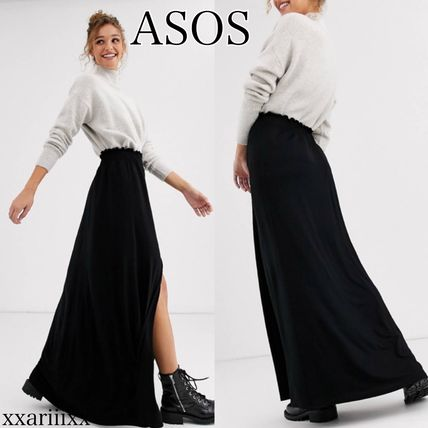 ASOS Flared Skirts Casual Style Maxi Plain Long Midi Skirts