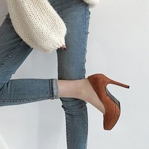 Round Toe Suede Pin Heels Office Style Formal Style