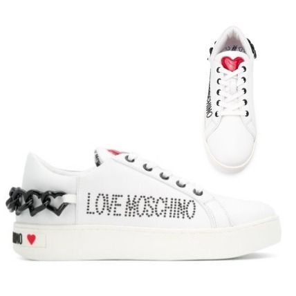 Heart Casual Style Chain Leather Logo Low-Top Sneakers