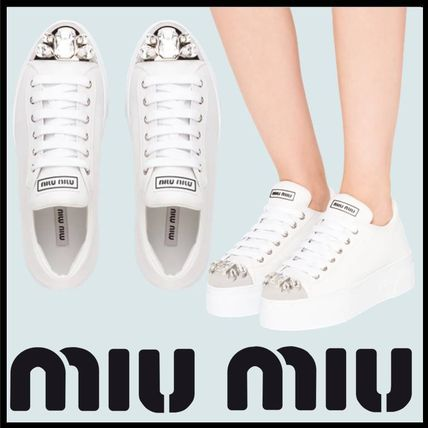 Rubber Sole Lace-up Casual Style Sheepskin With Jewels Logo