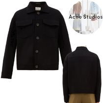 Acne Short Wool Blended Fabrics Plain Jackets
