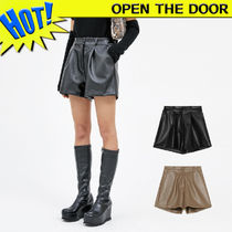 OPEN THE DOOR Short Casual Style Faux Fur Street Style Plain