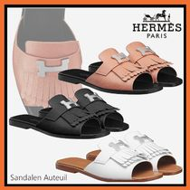 HERMES Open Toe Casual Style Plain Leather Flip Flops Elegant Style