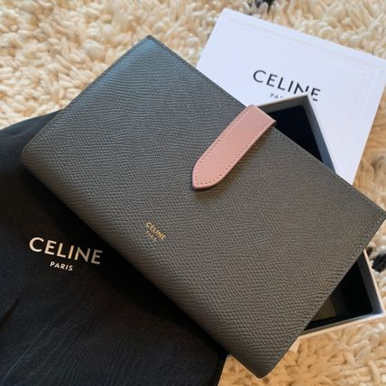 CELINE Long Wallets Plain Leather Long Wallets
