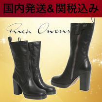 RICK OWENS Casual Style Leather Elegant Style Boots Boots
