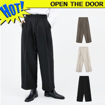 OPEN THE DOOR Slax Pants Unisex Wool Street Style Plain Slacks Pants