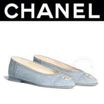 CHANEL ICON Street Style Bi-color Plain Handmade Ballet Shoes