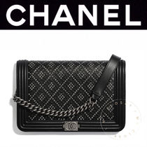 CHANEL BOY CHANEL Casual Style Calfskin Studded Street Style 2WAY Chain