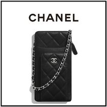 CHANEL Casual Style Lambskin Chain Plain Party Style Elegant Style