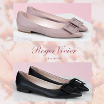 Roger Vivier Rubber Sole Casual Style Blended Fabrics Plain Leather