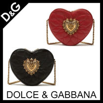 Dolce & Gabbana Heart Chain Plain Leather Shoulder Bags