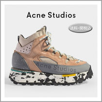 Acne Platform Round Toe Rubber Sole Lace-up Casual Style Suede