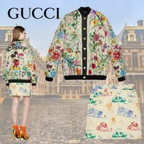 GUCCI Short Casual Style Silk Long Sleeves Cotton Logo Dresses