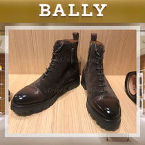 BALLY Plain Toe Suede Street Style Plain Leather Boots