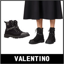 VALENTINO Casual Style Plain Block Heels Ankle & Booties Boots