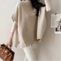 Casual Style Wool Sleeveless Plain Long High-Neck