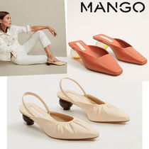 MANGO Square Toe Blended Fabrics Bi-color Plain Leather