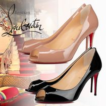 Christian Louboutin Open Toe Plain Peep Toe Pumps & Mules