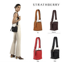 STRATHBERRY Casual Style Calfskin 2WAY Plain Leather Office Style