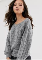 Abercrombie & Fitch Cable Knit U-Neck Long Sleeves Plain Sweaters