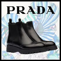 PRADA Round Toe Rubber Sole Plain Leather Elegant Style Logo