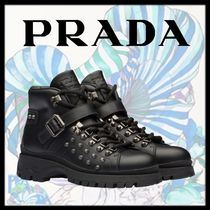 PRADA Round Toe Rubber Sole Studded Plain Leather Elegant Style