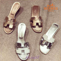 HERMES Open Toe Casual Style Leather Elegant Style Sandals Sandal