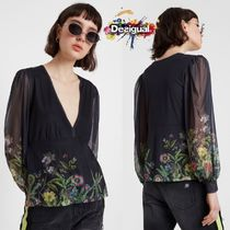 Desigual Flower Patterns Casual Style Puffed Sleeves Long Sleeves
