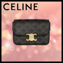 CELINE Casual Style Calfskin Canvas Blended Fabrics Leather