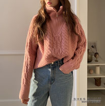 Cable Knit Casual Style Wool Long Sleeves Medium High-Neck