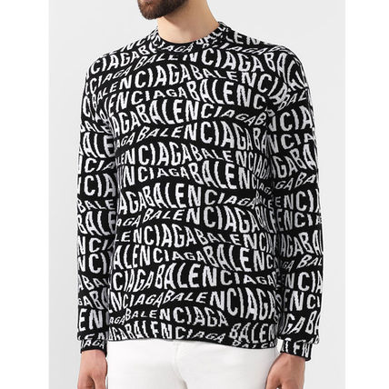 BALENCIAGA Crew Neck Pullovers Wool Blended Fabrics Long Sleeves Logo