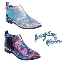 Irregular Choice Heart Star Casual Style Faux Fur Chelsea Boots Elegant Style