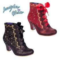 Irregular Choice Lace-up Faux Fur Block Heels Elegant Style Lace-up Boots
