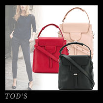 TOD'S Casual Style 2WAY Plain Leather Office Style Totes