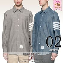 THOM BROWNE Button-down Long Sleeves Plain Cotton Logos on the Sleeves