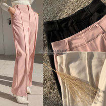 Casual Style Wool Plain Long Cropped & Capris Pants