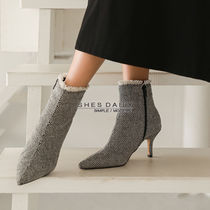 Zigzag Casual Style Pin Heels Ankle & Booties Boots