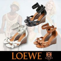 LOEWE GATE Open Toe Casual Style Plain Leather Elegant Style